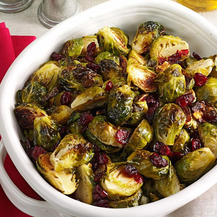 Roasted Brussels Sprouts with Cranberries