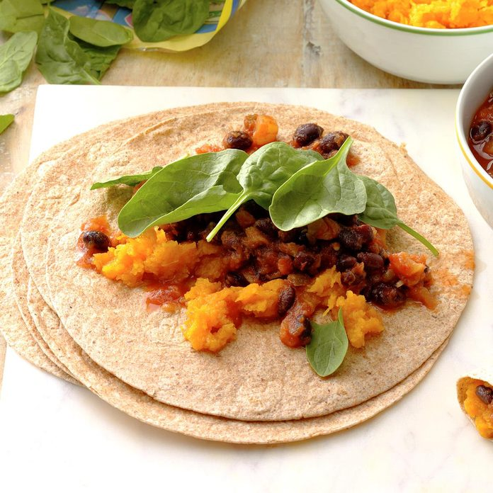 Tropical Squash and Black Bean Burritos