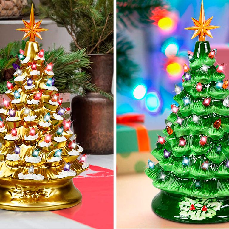 Goplus Pre-Lit Hand-Painted Ceramic Christmas Tree, 15in Tabletop Xmas Decor, with 66 Multicolored Lights and Top Star, Forever Lighted Holiday Centerpiece (15in)