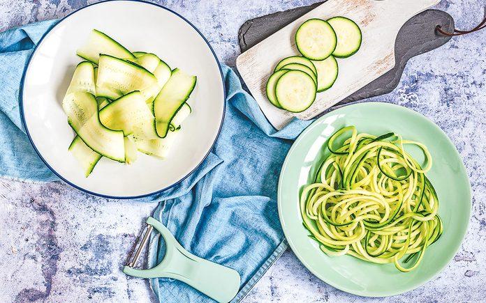 Variation for sliced zucchini: grill, salad, spaghetti (zughetti)