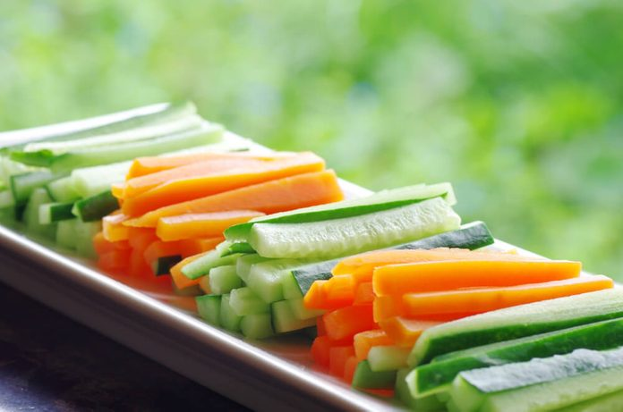 Sliced vegetables separated by type