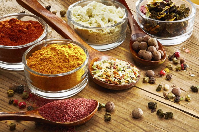 An aromatic colorful spicy world of a taste, cooking, food and drinks