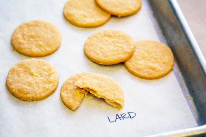 """Pie crust with lard taste test - cookie-shaped pieces shown on a baking sheet labeled with """"lard"""""""