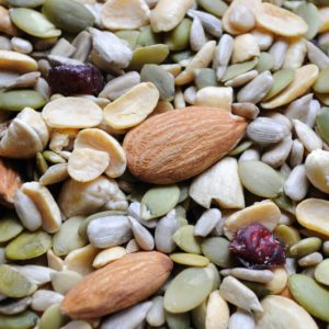 A healthy mix of nuts and dried cranberries.
