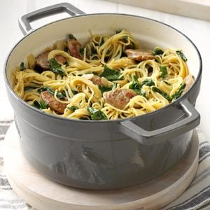 Angel Hair Pasta with Sausage & Spinach