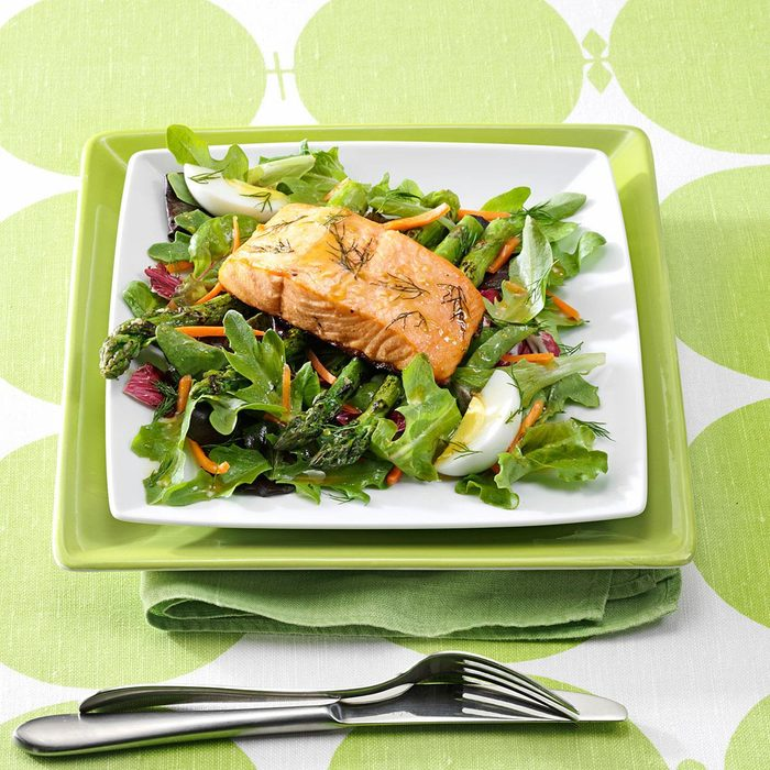 Asparagus Salad with Grilled Salmon