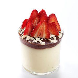 B&W Vanilla Bean Puddings with Fresh Strawberries