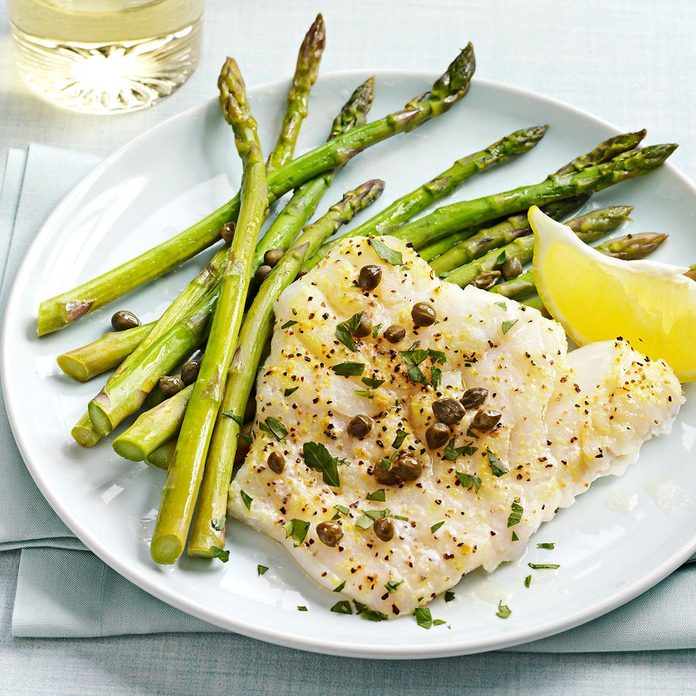 Baked Cod Piccata with Asparagus
