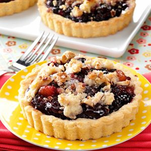 Blushing Fruit Tarts with Amaretto Truffle Sauce