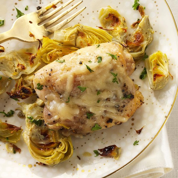Broiled Chicken Artichokes Exps162382 Th133086a08 01 4bc Rms 6