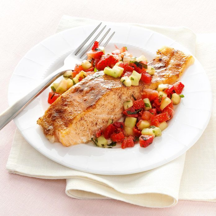 Brown Sugar Salmon with Strawberries