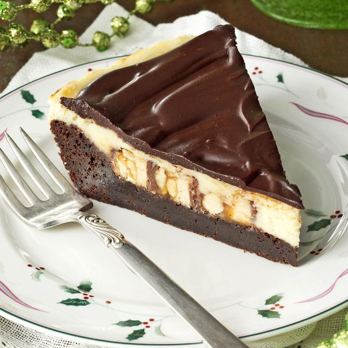 Brownie Cheesecake Snickers Pie