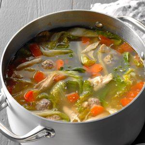 Chicken Escarole Soup with Meatballs