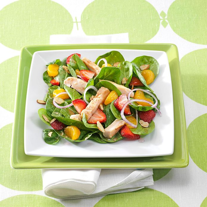 Chicken & Fruit Spinach Salads
