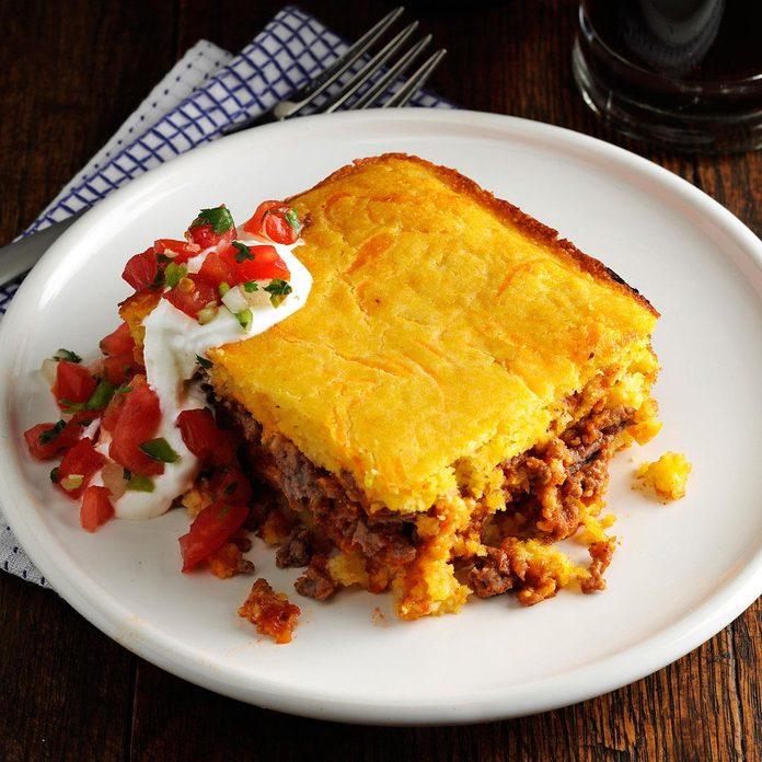Chili Beef Cornbread Casserole