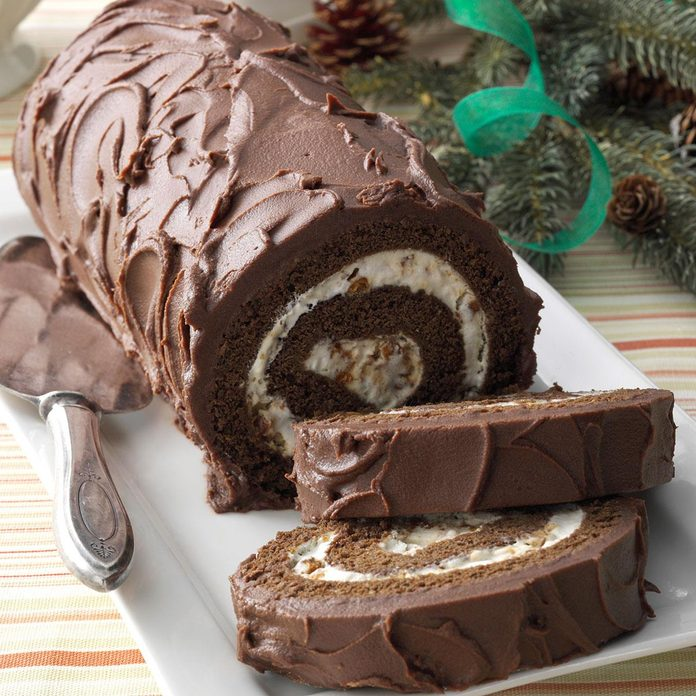 Chocolate Cake Roll with Praline Filling