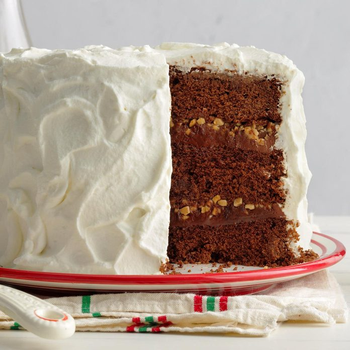 Chocolate Gingerbread Toffee Cake with Ginger Whipped Cream