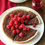 Chocolate Tart with Cranberry Raspberry Sauce