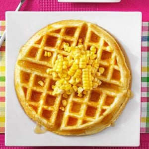 Corn Fritter Waffles with Spicy Maple Syrup