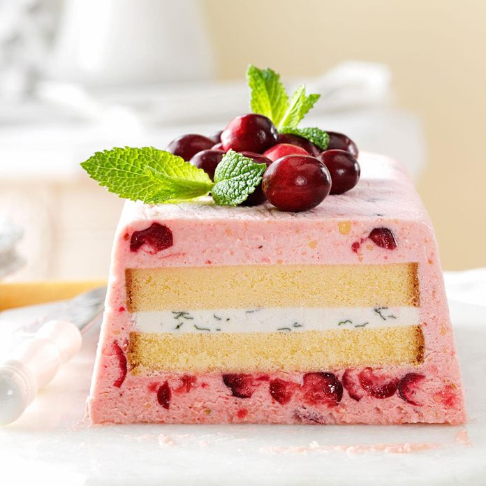 Cranberry-Lime Semifreddo with Pound Cake