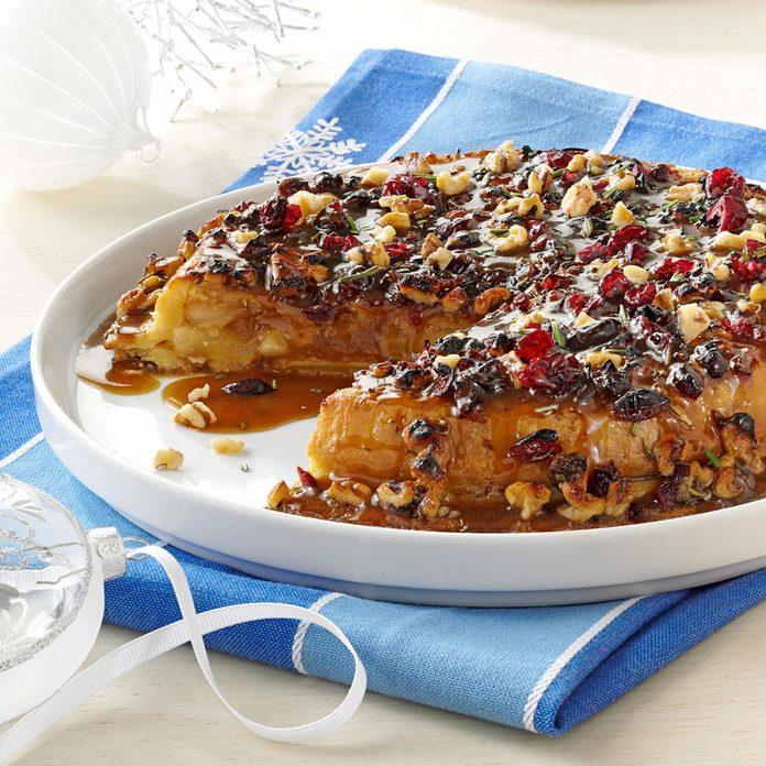 Cranberry-Walnut Upside-Down Apple Pie