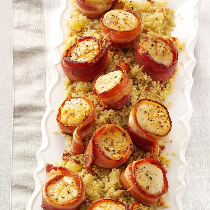 Bacon-Wrapped Scallops with Pineapple Quinoa