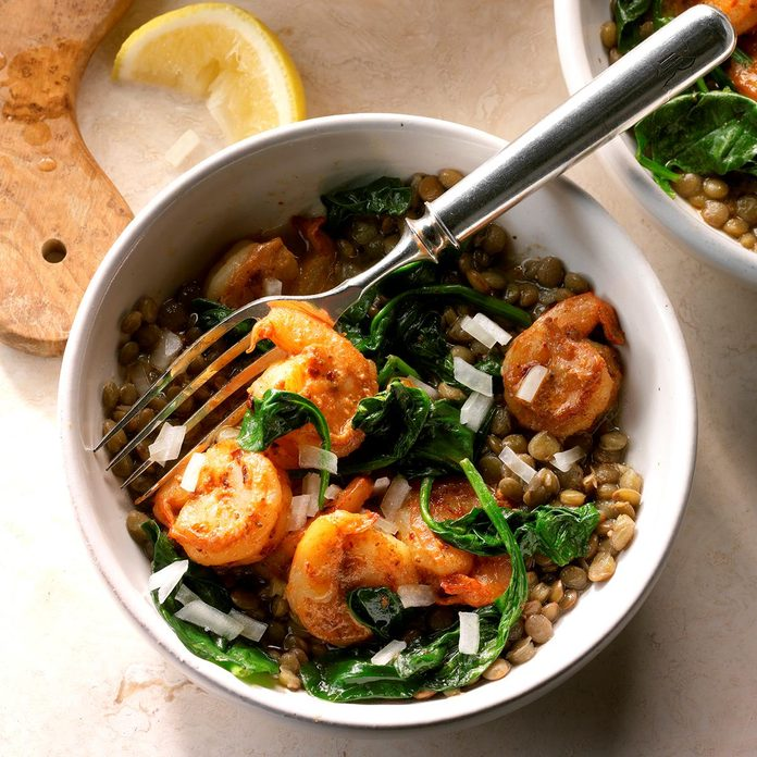 East Coast Shrimp and Lentil Bowls