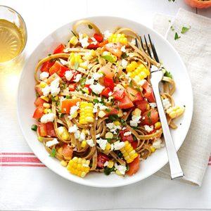 Fresh Corn and Tomato Fettuccini
