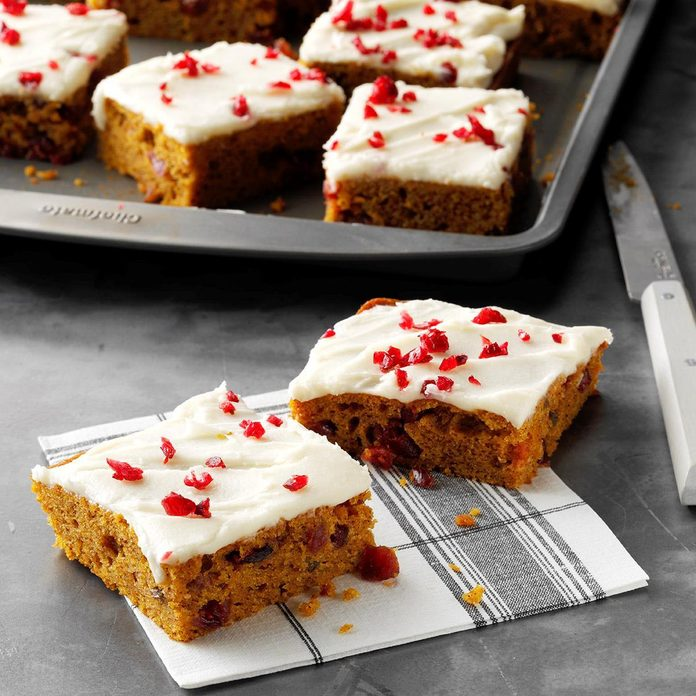 Frosted Pumpkin Cranberry Bars