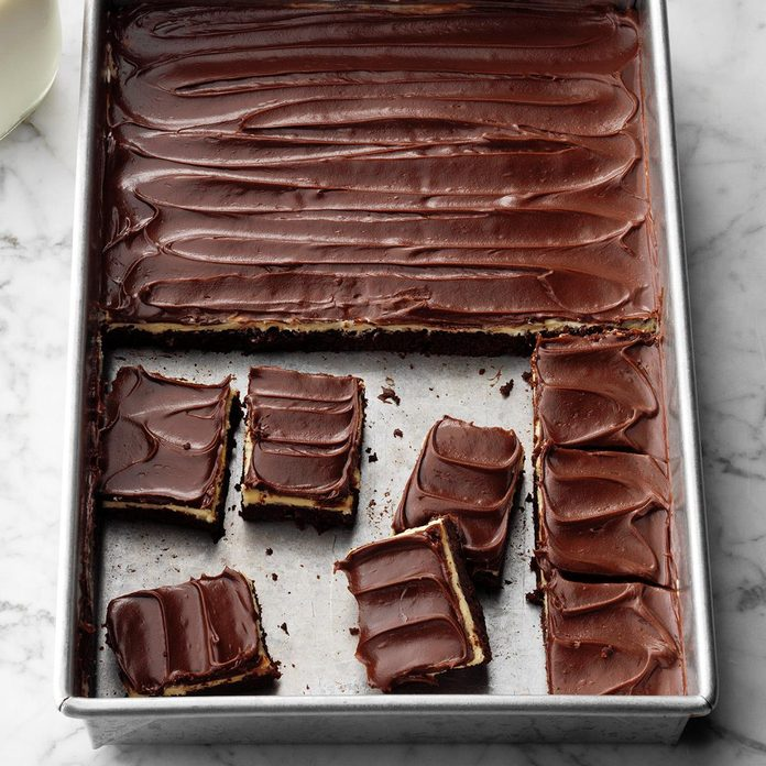 Fudgy Brownies with Peanut Butter Pudding Frosting