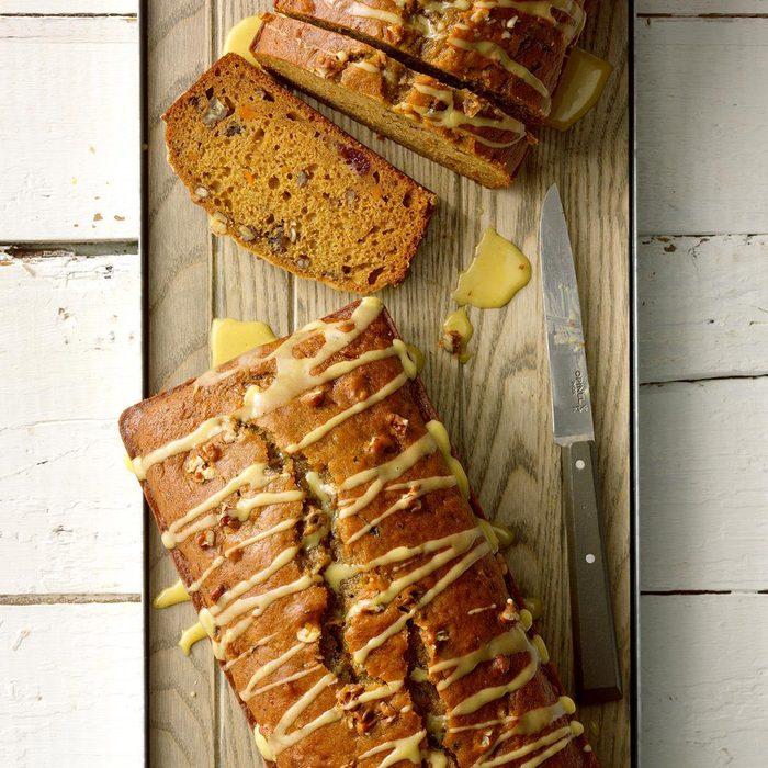 Glazed Cranberry Sweet Potato Bread