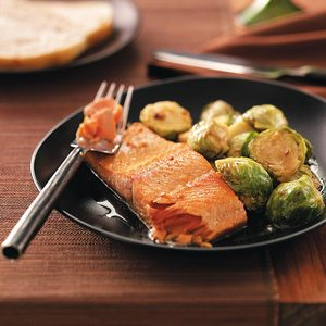 Glazed Salmon with Brussels Sprouts