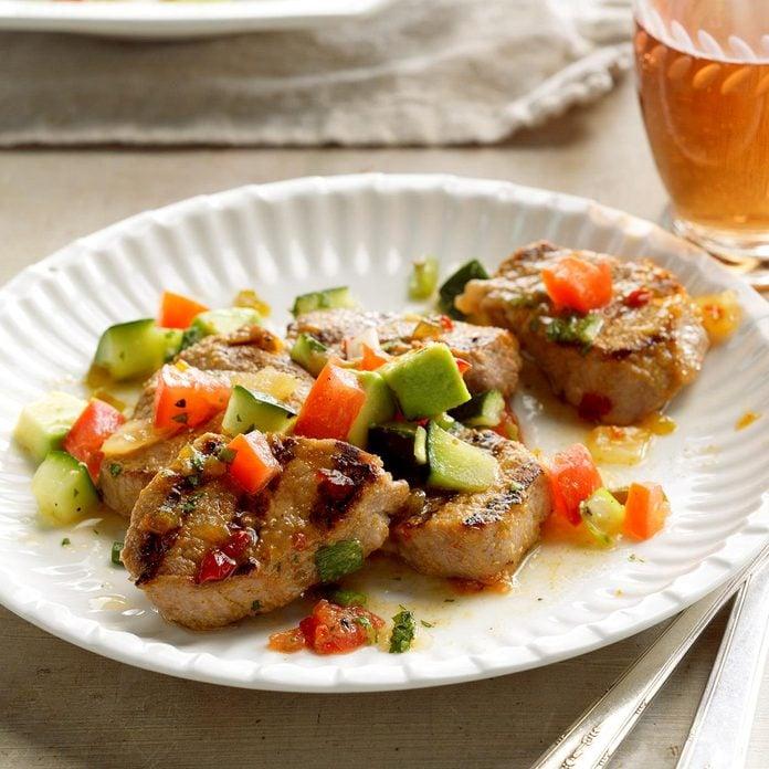 Grilled Pork with Avocado Salsa