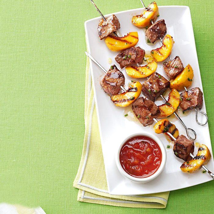 Grilled Sirloin Kabobs with Peach Salsa
