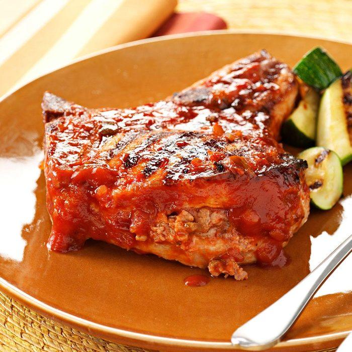 Grilled Stuffed Pork Chops