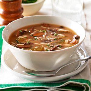 Lemony Mushroom Orzo Soup