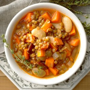 Lentil, Bacon and Bean Soup
