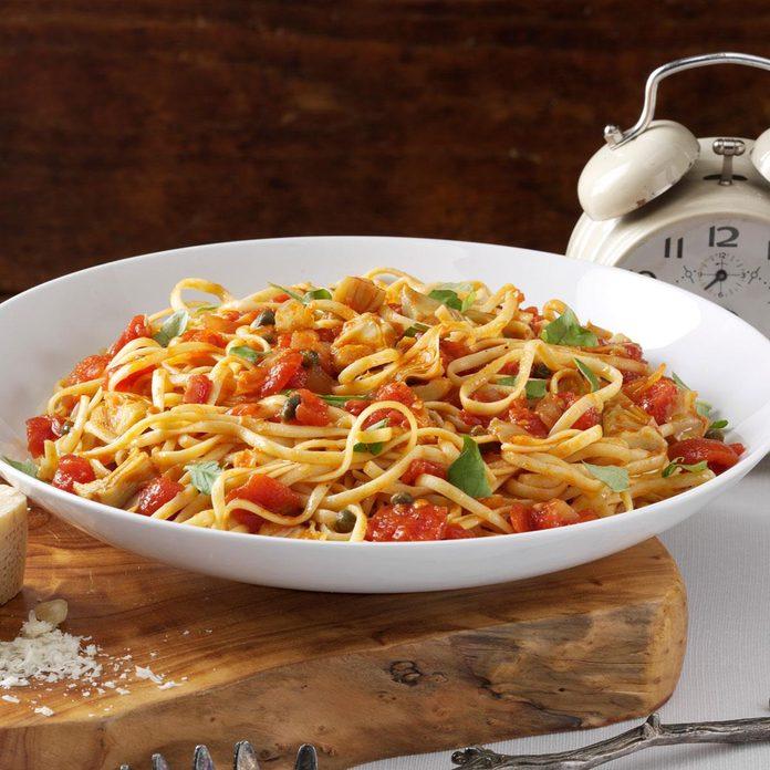 Linguine with Artichoke-Tomato Sauce