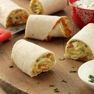 Mediterranean Artichoke and Red Pepper Roll-Ups