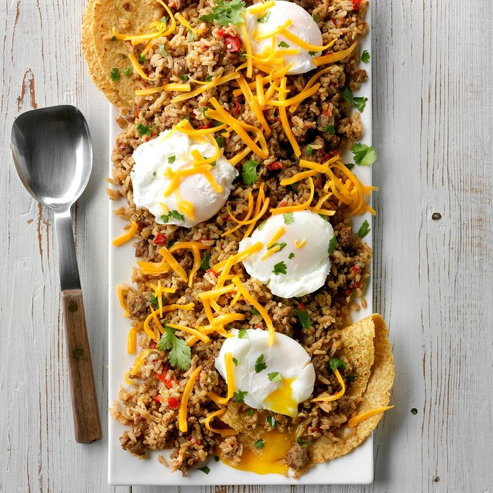 Mexican Rice with Poached Eggs