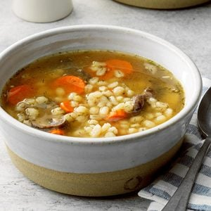 Mushroom Barley Soup for Two