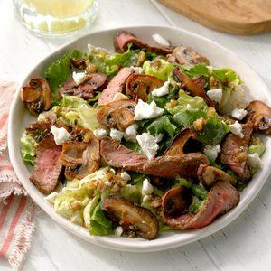 Mushroom Steak Salad with Walnut Vinaigrette