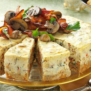 Mushroom and Bacon Cheesecake