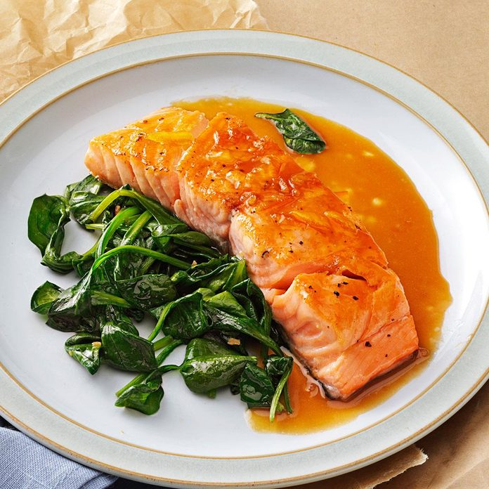 Orange Salmon with Sauteed Spinach