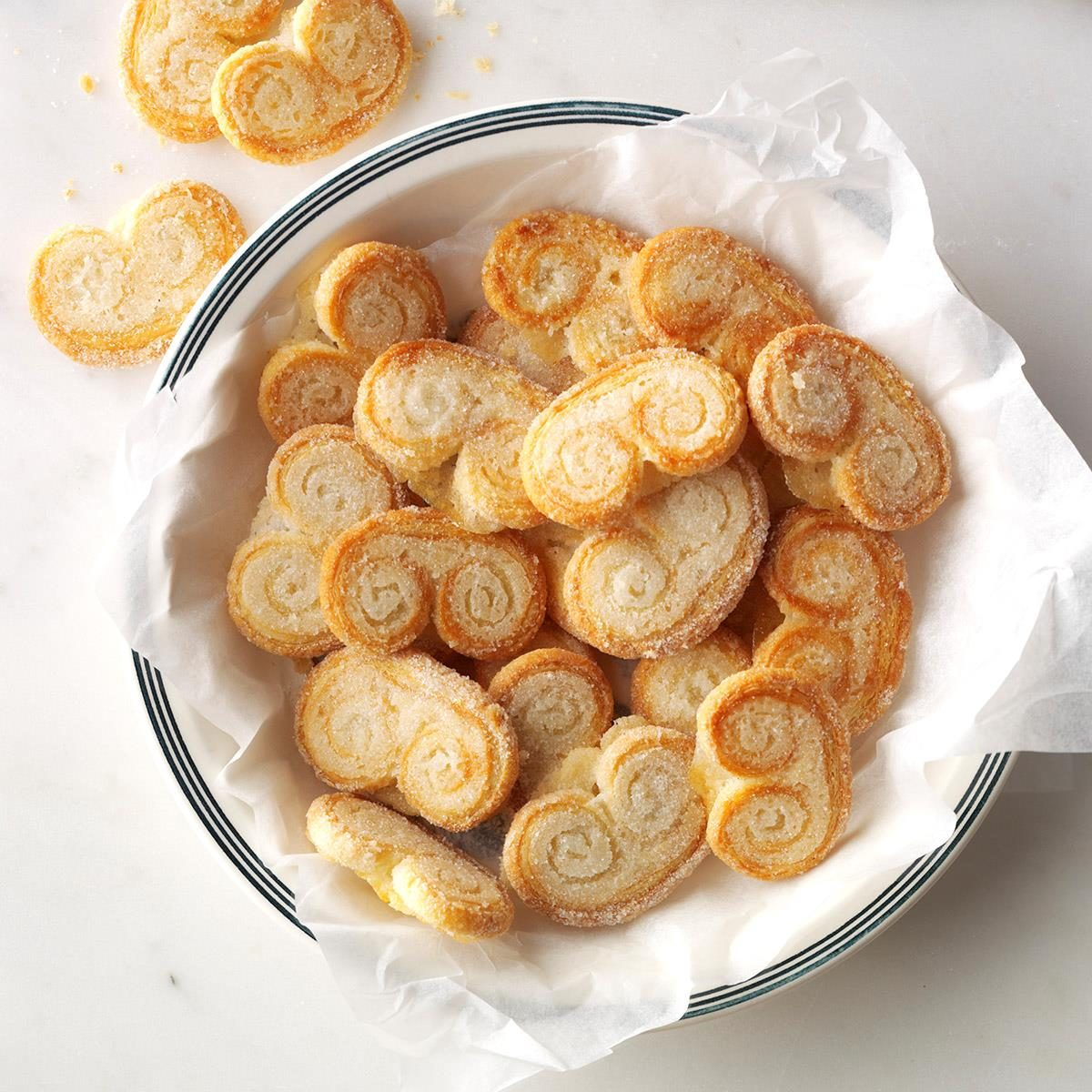 This 2-ingredient palmiers recipe calls for sugar and puff pastry.