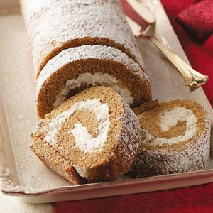 Pear Gingerbread Cake Roll