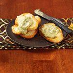 Pesto Dip with Parmesan Toast