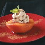 Poached Peaches with Cream Cheese Filling