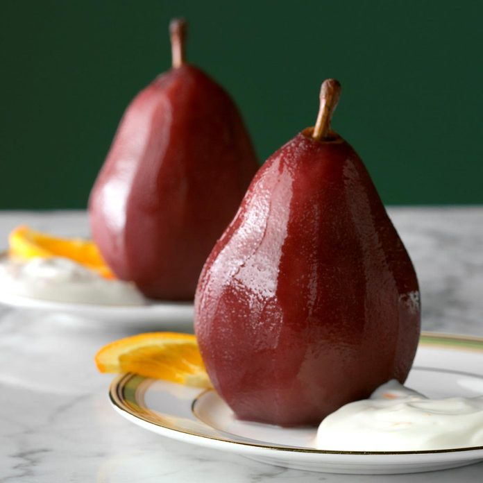 Poached Pears with Orange Cream