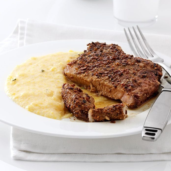 Porcini-Crusted Pork with Polenta